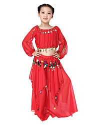 Performance Dancewear Chiffon with Coins Belly Dance Outfit Top and Skirt For Children
