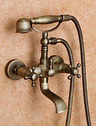 Antique Tub And Shower Handshower Included with  Ceramic Valve Two Handles Two Holes for  Antique Brass , Shower Faucet / Bathtub Faucet