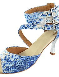 Customizable Women's Dance Shoes Latin/Ballroom Fabric Customized Heel Blue