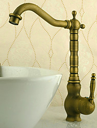 Deck Mounted Single Handle One Hole with Antique Brass Kitchen faucet