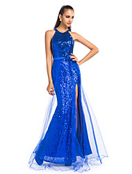 Formal Evening/Prom/Military Ball Dress - Royal Blue Plus Sizes Sheath/Column Jewel Floor-length Sequined/Tulle
