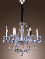 Elegant Retro Chandelier 6 Lights Candle Feature Water Blue Crystal