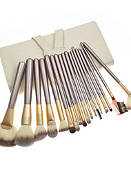 18pcs Makeup Brushes setPony/Horse Hair Silver Powder/Concealer/Blush brush Shadow/Eyeliner/Lip/Brow/Lashes Brush Makeup Kit Beige Pouch