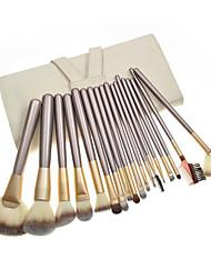 18PCS plata Kits pincel de maquillaje con la bolsa de la manija Beige