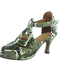 Customizable Women's Dance Shoes Latin/Ballroom Leatherette Stiletto Heel Green