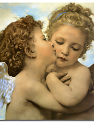 Printed Canvas Art Vintage Bouguereau, Angels and cupids by Vintage Apple Collection with Stretched Frame