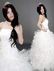 Strapless Andar de comprimento Organza Branco Ruffles Princesa Lolita Vestido
