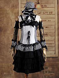 señorita mago sin mangas hasta la rodilla negro bandas de algodón traje de lolita gótica
