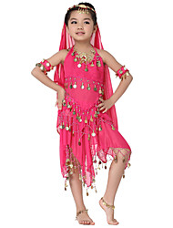 Dancewear Chiffon with Coins Belly Dance Outfits Top and Scarfs and Skirt For Children More Colors