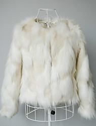 Long Sleeve Collarless Faux Fur Casual/Party Jacket