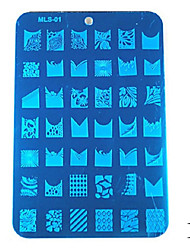 1PCS Blue Tape Nail Art Stamp Stamping Image Template Plate MLS Series(Assorted Colors)