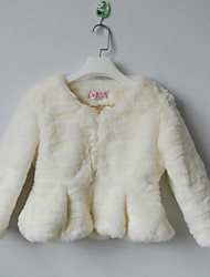 Stylish 3/4 Sleeve Collarless Faux Fur Casual/Party Jacket(More Colors)