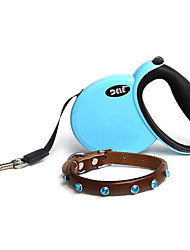 Novel Design Pet Suit of Genuine Leather Diamante Collar with Machine Leash for Dogs (Assorted Colors)