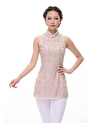Women's Casual/Daily Vintage Summer Blouse,Jacquard Pink / White Polyester