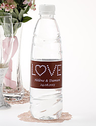 Garrafa de água personalizada Sticker - amor (rosa Brown / conjunto de 15)