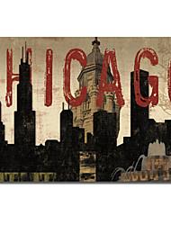Stampato su tela Paesaggio Chicago Skyline ho da Sparx Studio, con telaio allungato