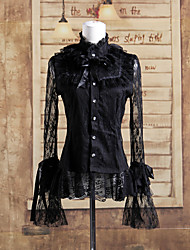 Lace Long Sleeve Black Lace Cotton Gothic Lolita Blouse