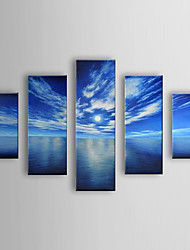 Oil Painting Landscape Sea with Stretched Frame Set of 5 1306-LS0318 Hand-Painted Canvas