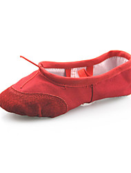 Non Customizable Women's Dance Shoes Ballet Suede/Canvas Flat Heel Red/White
