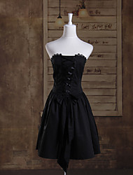 One-Piece/Dress Gothic Lolita Princess Cosplay Lolita Dress Solid Sleeveless Short Length Dress For Cotton
