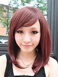 Capless Medium Long Chestnut Brown Straight Synthetic Fiber Wigs Side Bang