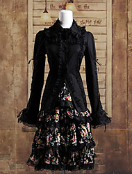 larga manga de la llamarada negro blusa y la rodilla-longitud floral falda de algodón punky traje lolita