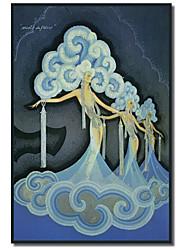 Канва искусства Урожай Фоли-Бержер Blue By Коллекция Vintage Apple, с растянутыми кадра