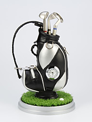 Golf Bag Design Pen Holder With 3 Golf Club Shaped Ball Pens