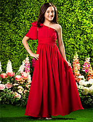 LAN TING BRIDE Floor Length Chiffon Junior Bridesmaid Dress A-line Princess One Shoulder Natural with Beading Bow(s) Draping Ruching -