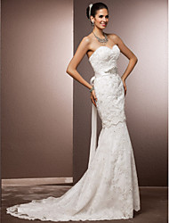 Mermaid / Trumpet Sweetheart Court Train Lace Wedding Dress with Sash / Ribbon by LAN TING BRIDE®