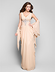 Formal Evening/Military Ball Dress - Champagne Plus Sizes Sheath/Column V-neck Floor-length Chiffon