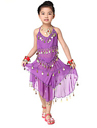 Performance Lovely Dancewear Chiffon with Coins Belly Dance Outfit Top and Skirt For Children More Colors