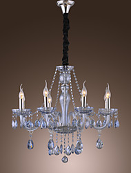Elegant Retro Chandelier 8 Lights Candle Feature Water Blue Crystal