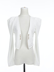 Cropped Cotton Jacket With Ruched Sleeves And Buttons (More Colors)
