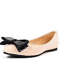 Babala Cream Patent Leather Bow Flat Shoes
