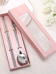 Simple Stainless Spoon and Chopsticks Set In Pink Box