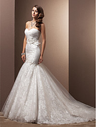 Fit & Flare Wedding Dress - Ivory Court Train Sweetheart Lace/Organza