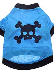 Dog Shirt / T-Shirt / Clothes/Clothing Blue Summer Skulls