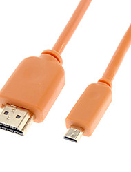 HDMI Male to Micro HDMI Male V1.3 Cable Orange Glod-Plated for Smart LED HDTV/APPLE TV/Blu-Ray DVD(1.5m)