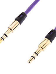 3.5mm Audio Male to Male Cable Gold Plated Purple (1M)
