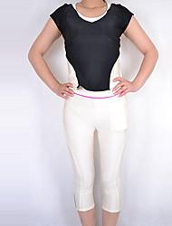 Black and Ivory Spandex Nylon Exercício Suit