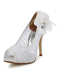 Women's Spring / Summer / Fall Peep Toe Satin / Stretch Satin Wedding Stiletto Heel Rhinestone / Flower Ivory / White