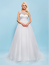 Lanting Bride Ball Gown Petite / Plus Sizes Wedding Dress-Court Train Scoop Tulle