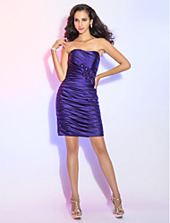 TS Couture® Cocktail Party Dress - Short Plus Size / Petite Sheath / Column Strapless Short / Mini Satin with Beading / Flower(s) / Side Draping