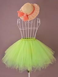 Jupe Doux Lolita Cosplay Vêtrements Lolita Violet Orange Vert Beige Cyan Couleur Pleine Lolita Lolita Jupe Pour Satin Organza