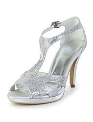 Women's Wedding Shoes T-Strap Sandals Dress Silver