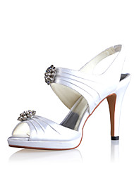 Fabulous Satin Stiletto Heel Sandals with Rhinestone Wedding Shoes(More Colors)