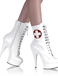 Sexy Nurse White PU Leather 4.5cm Platform 14.5cm Stiletto Heel Ankle Boots