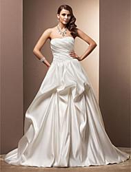 A-line Plus Sizes Wedding Dress - Ivory Chapel Train Sweetheart Satin