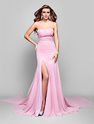 Military Ball/Formal Evening Dress - Candy Pink Plus Sizes Trumpet/Mermaid Strapless Sweep/Brush Train Chiffon